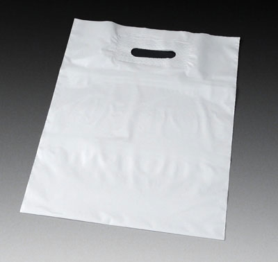"""15"""" x 18"""" Poly Tote Bag with Patch Handle and 4"""" Bottom Gusset - White (2 mil) (500 per carton)"""