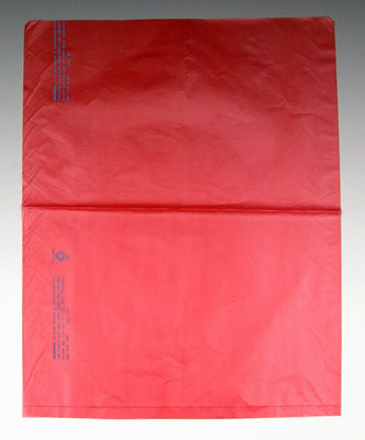 "12"" x 15"" High Density Embossed Flat Merchandise Bag without Die-Cut Handle - Red (.65 mil) (1000 per carton)"