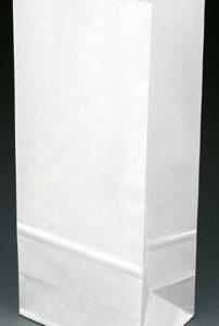 """4-3/4"""" x 3-1/4"""" x 9"""" Poly-Lined Gusseted Paper Bag without Tabs - White (50 lb.) (1000 per carton)"""