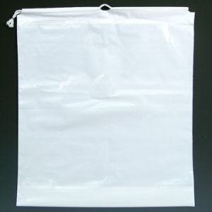 "18"" x 19-1/2"" Poly Bag with Single Drawstring + 4"" Bottom Gusset - White (2 mil) (500 per carton)"