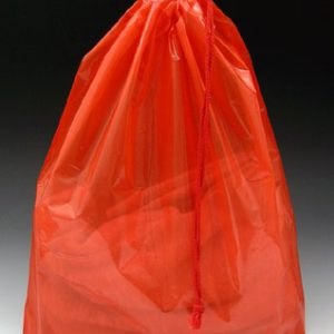 "18"" x 19-1/2"" Poly Bag with Single Drawstring + 4"" Bottom Gusset - Red (2 mil) (500 per carton)"
