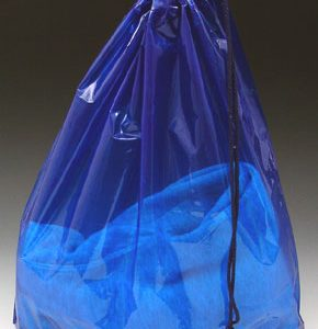 "18"" x 19-1/2"" Poly Bag with Single Drawstring + 4"" Bottom Gusset - Blue (2 mil) (500 per carton)"