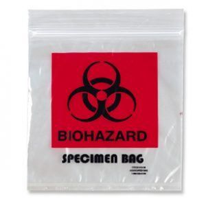"6"" x 6"" Specimen Zipper Bag with Pouch and Biohazard Message (2 mil) (1000 per carton)"