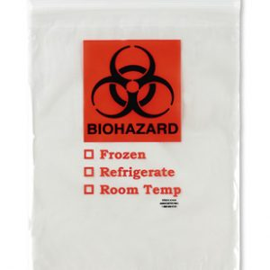 "12"" x 15"" Specimen Zipper Bag with Pouch and Biohazard Message (2 mil) (1000 per carton)"