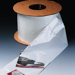 """4"""" x 6"""" White Opaque Front/Clear Back Bag for Autobag® Machines (2 mil) (2000 per roll)"""
