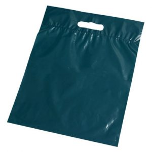 "11"" x 12"" Poly Tote Bag with Die-Cut Handle - Dark Green (1.25 mil) (1000 per carton)"