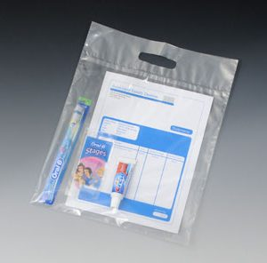 "12"" x 15"" Environmentally Friendly Tote Bags with Die-Cut Handle - Clear (2 mil) (1000 per carton)"