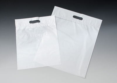 "12"" x 15"" Environmentally Friendly Tote Bags with Die-Cut Handle - White (2 mil) (1000 per carton)"