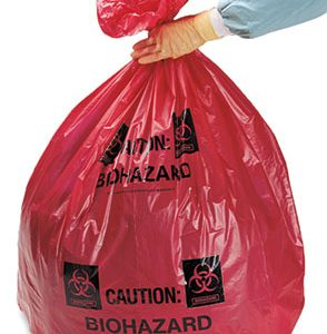 "40"" x 48"" Biohazard Message High Density Flat Poly Liner with Star Seal - Red (1 mil) (250 per carton)"
