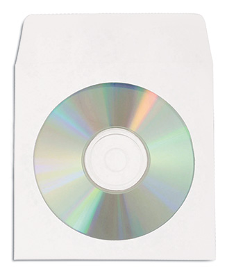 "5"" x 5"" Tyvek Single CD/DVD Sleeve with 4-1/8"" Poly Window and Flap (500 Sleeves)"
