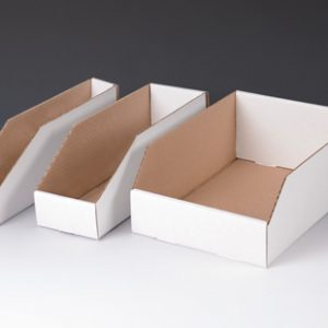 "4"" x 9"" x 4-1/2"" Corrugated Bin Box - White  (100 per bundle)"