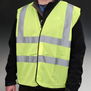 High Visibility ANSI Class 2 Safety Vest - Fluorescent Green - Large