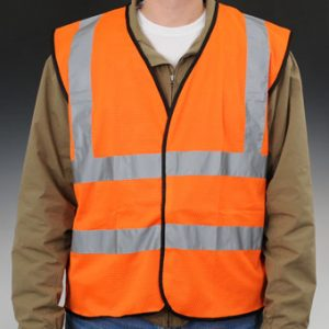 High Visibility ANSI Class 2 Safety Vest - Fluorescent Orange - X-Large