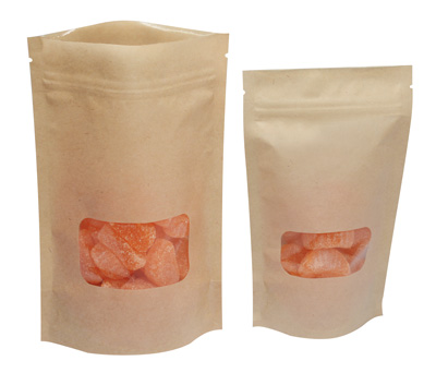 """6"""" x 9"""" Kraft Stand-Up Zipper Pouch with Window and 3-1/4"""" Bottom Gusset (500 per carton)"""