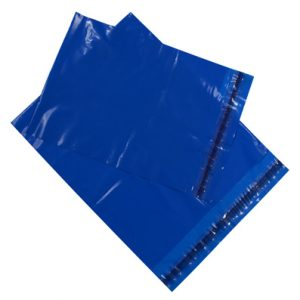 "15"" x 18"" Permanent Adhesive Poly Bag - Blue (3 mil) (500 per carton)"