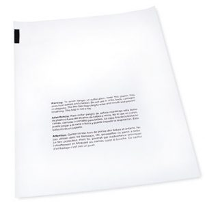 """8"""" x 10"""" Our Own Brand Flat Poly Bag Printed with Suffocation Warning (1 mil) (1000 per carton)"""