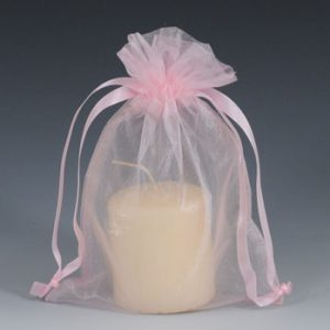 """4"""" x 6"""" Organza Bag with Drawstring - Pink (10 per package)"""