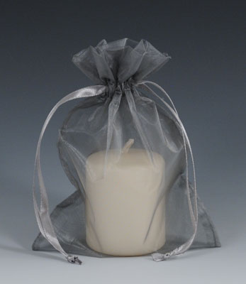 """4"""" x 6"""" Organza Bag with Drawstring - Silver (10 per package)"""