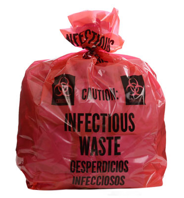 """16"""" x 14"""" x 36"""" Infectious Waste Low Density Gusseted Liner - Red (3 mil) (100 per carton)"""