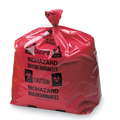 """15"""" x 9"""" x 23"""" Biohazard Message Low Density Gusseted Liner - Red (4 mil) (200 per carton)"""