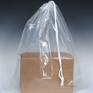 "16"" x 18"" Poly Bag with Single Drawstring + 3"" Bottom Gusset - Clear (2 mil) (500 per carton)"