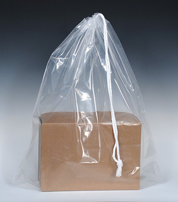 """16"""" x 18"""" Poly Bag with Single Drawstring + 3"""" Bottom Gusset - Clear (2 mil) (500 per carton)"""