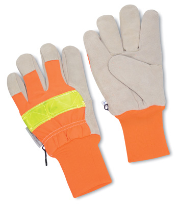 High Visibility Orange Insulated Work Gloves - Large