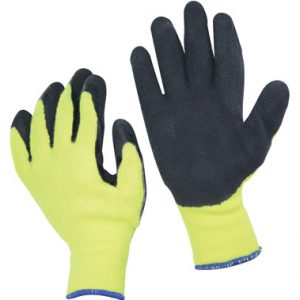 High Visibility Yellow Knit Latex Coated Gloves - X-Large