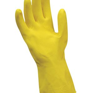 "12"" Yellow Flock-Lined Latex Chemical Resistant Gloves - Medium (20 Mil) (12 per bag)"