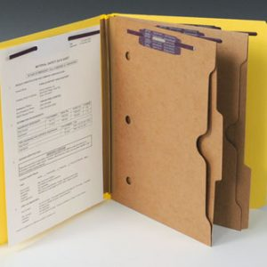 Smead Heavy Duty Partition Folder with 2 Pocket Dividers and 6 Fasteners - 25 PT. (Legal Size) - Yellow (10 per box)