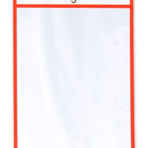 "11"" x 14"" Vinyl Job Ticket Holder with Fluorescent Red Stitched Edges (5.75 Gauge) (15 per carton)"