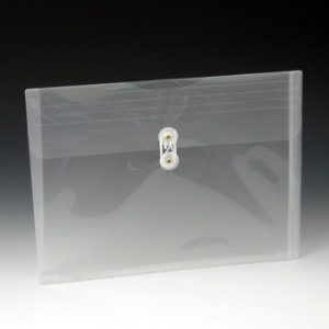 "10"" x 1-1/8"" x 5-3/16"" Polypropylene Envelope with String Closure & Long Side Opening - Clear (8 Gauge) (24 per package)"