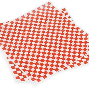 "12x12"" Red/White Checkerboard Food Grade Grease Resistant Tissue Sheet"
