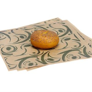 "12x12"" Green Swirl Food Grade 20# Grease Resistant Kraft Tissue Sheet"
