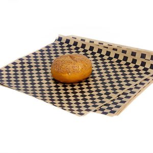 "12x12"" Black Checkerboard Food Grad Grease Resistant Kraft Tissue Sheet"