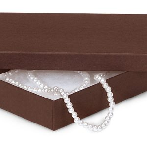 "100% Embossed Jewelry Boxes - 5-1/2x3-1/2x1"" Chocolate Jewelry Matte Kraft w/ non-tarnishing Cotto (100 boxes)"