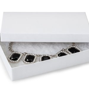"100% Embossed White Jewelry Boxes - 5-1/2x3-1/2x1"" White Kraft Jewelry Boxes with Eco Fiber (100 boxes)"