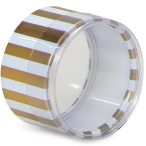 "Round Printed Favor Boxes - White & Gold Stripes Favor Box Round 2"" Dia x1"" Clear Lid & Base (10 Packs; 6 boxes Per Pack)"