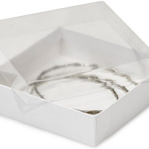 """Clear Lid Display Jewelry Boxes -3-1/2x3-1/2x7/8"""" Clear Lid White Base Box (100 Boxes)"""