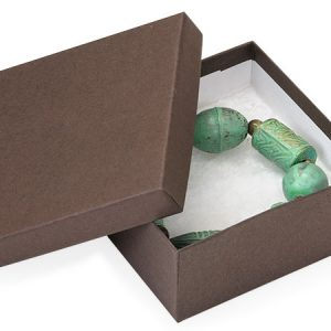 100% Embossed Jewelry Boxes - 3-1/2x3-1/2x1-1/2 Chocolate Kraft Jewelry Box w/ Non-tarnish Cotton (100 boxes)