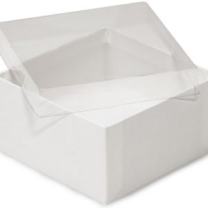 """Clear Lid Jewelry Boxes - 3-1/2x3-1/2x1-7/8"""" Clear Lid Jewelry Boxes White Base Non-tarnish Cotton (100 Boxes)"""