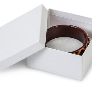 "100% Embossed White Jewelry Boxes - 3-1/2x3-1/2x1-7/8"" White Kraft Jewelry Boxes with Eco Fiber (100 boxes)"