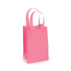 "Reusable Frosted Color Bags - Jewel Blazing Pink Frosted Plastic Mini Pk 3 mil HDPE 4x2x5-1/2"" (7 Packs; 25 Bags Per Pack)"