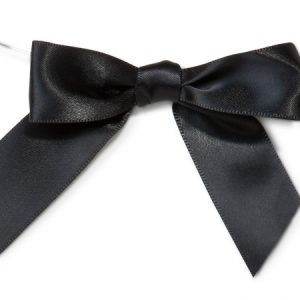 """Pre-Tied Satin Gift Bows - Black 3"""" Pre-tied Satin Bows With 5"""" Twist Ties~ 7/8"""" Ribbon (12 Packs; 12 Bows)"""