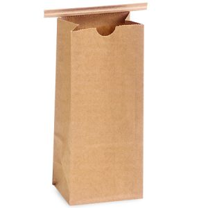 "Paper Tin Tie Coffee Bags - Mini Pk 1lb Kraft Tin Tie Bags 4-1/4""x2-1/2""x10-1/2"" (2 Packs; 100 Bags Per Pack)"