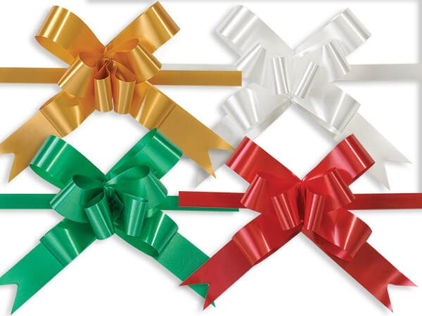 """Poly Butterfly Pull Gift Bows - Christmas Asst 4"""" Magic Butterfly Emerald, Gold, Red & White (2 Packs; 100 Bows Per Pack)"""