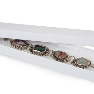 "100% Embossed White Jewelry Boxes - 8x2x7/8"" White Kraft Jewelry Boxes with Eco Fiber (100 boxes)"