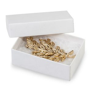 100% Embossed White Jewelry Boxes - 2-7/16x1-5/8x13/16 White Kraft Jewelry Boxes Cotton Fill (100 boxes)