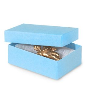 "Solid Color Jewelry Boxes -3x2-1/8x1"" Lt Blue Jewelry Boxes Matte Kraft w/ non-tarnishing Cotton (100 Boxes)"