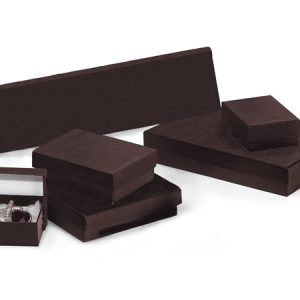 100% Embossed Jewelry Boxes - Chocolate Embossed Jewelry Assort 6 Sizes w/ Fiber (72 boxes)